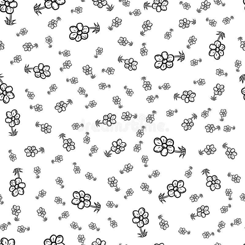 Bella icona senza cuciture disegnata a mano del fiore di modo del modello Schizzo nero disegnato a mano Segno/simbolo/scarabocchi illustrazione di stock