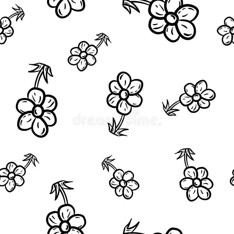 Bella icona senza cuciture disegnata a mano del fiore di modo del modello Schizzo nero disegnato a mano Segno/simbolo/scarabocchi illustrazione vettoriale