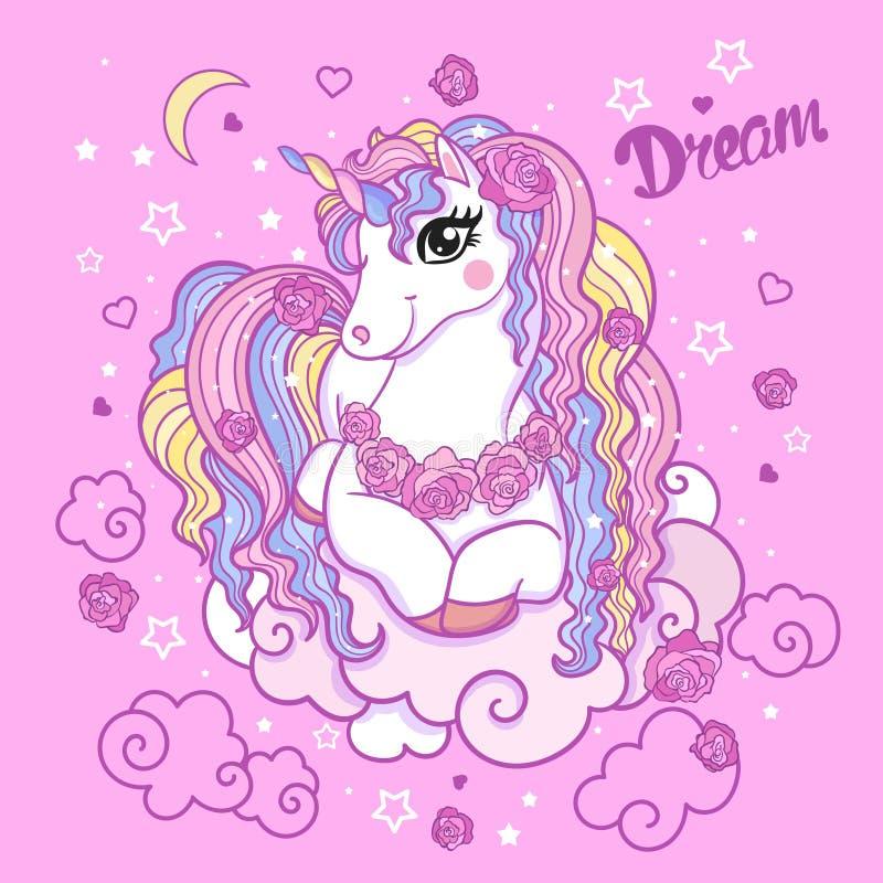 Bella illustrazione bianca di vettore dell'unicorno royalty illustrazione gratis