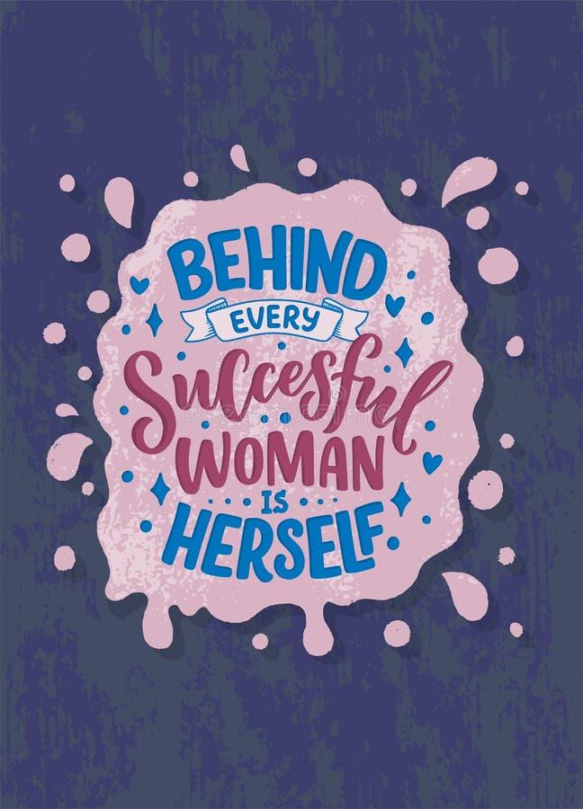 Bella illustrazione con iscrizione circa la donna Citazione motivazionale ispiratrice scritta a mano elemento di progettazione de illustrazione di stock