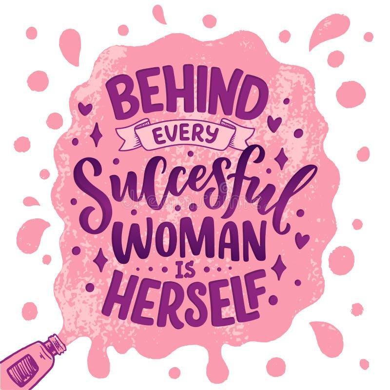 Bella illustrazione con iscrizione circa la donna Citazione motivazionale ispiratrice scritta a mano elemento di progettazione de royalty illustrazione gratis