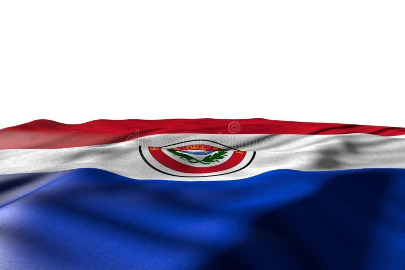 Bella illustrazione della bandiera 3d di celebrazione - immagine del modello della bandiera del Paraguay che si trova con la vist illustrazione di stock