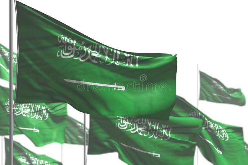 Bella illustrazione della bandiera 3d di festa del lavoro - molte bandiere dell'Arabia Saudita sono ondeggiare isolate sull'immag royalty illustrazione gratis