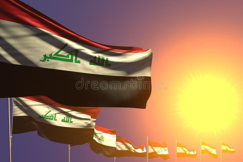 Bella illustrazione della bandiera 3d di festa dell'indipendenza - molte bandiere dell'Irak hanno disposto diagonale sul tramonto illustrazione vettoriale