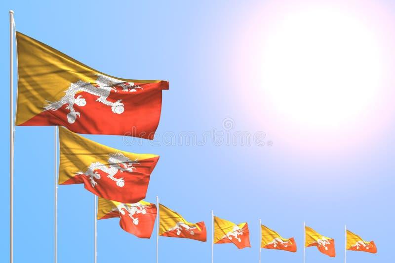 Bella illustrazione della bandiera 3d di giorno di inno - molte bandiere del Bhutan hanno disposto diagonale su cielo blu con spa illustrazione vettoriale