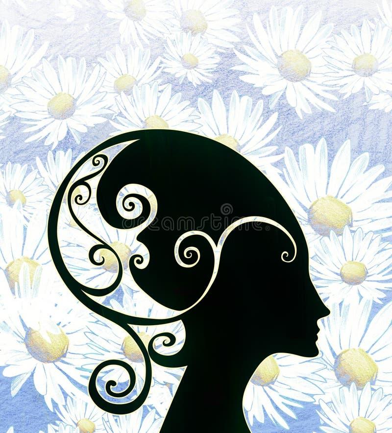 Bella illustrazione della siluetta del nero del fumetto del casco d'uso capo di fantasia della donna royalty illustrazione gratis