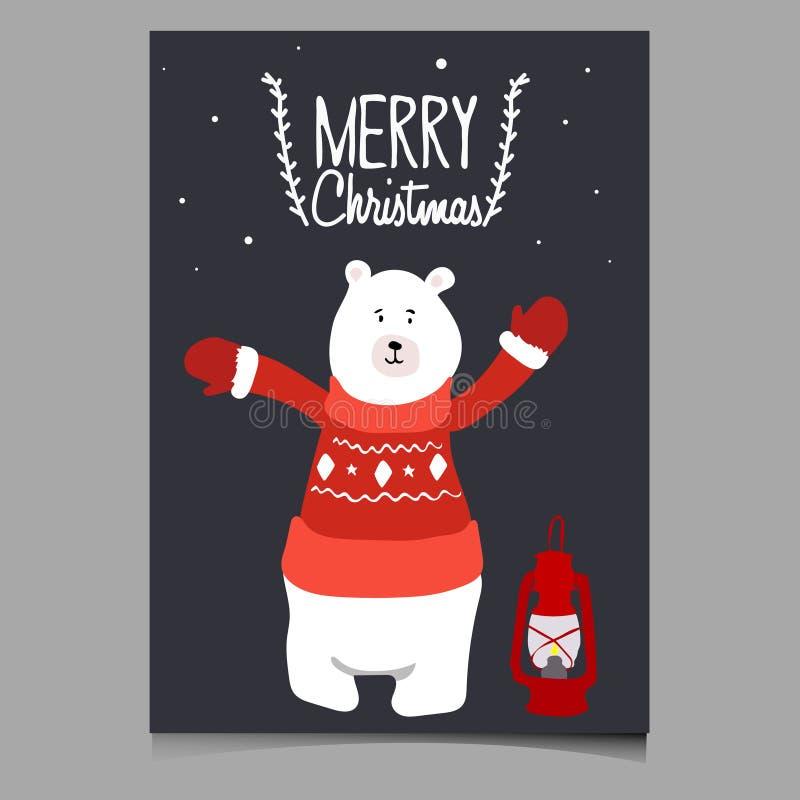 Bella illustrazione di Natale di vettore con l'orso sveglio Carta di Buon Natale Illustrazione alla moda fotografia stock libera da diritti