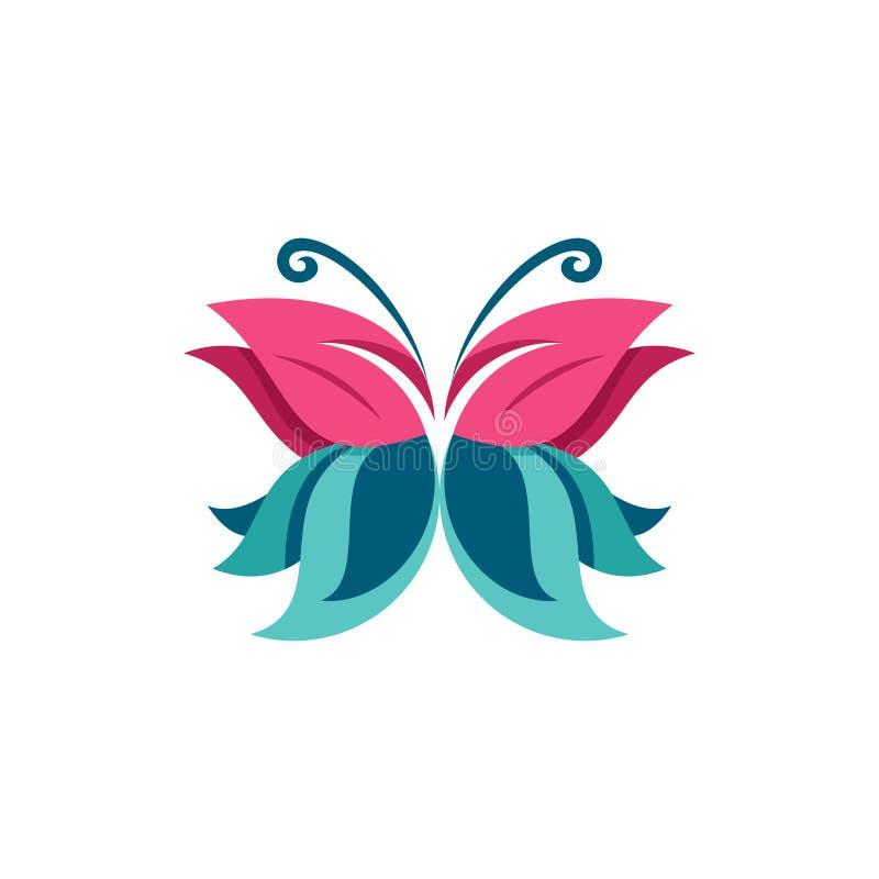 Bella illustrazione di simbolo della farfalla dolce semplice della foglia illustrazione vettoriale