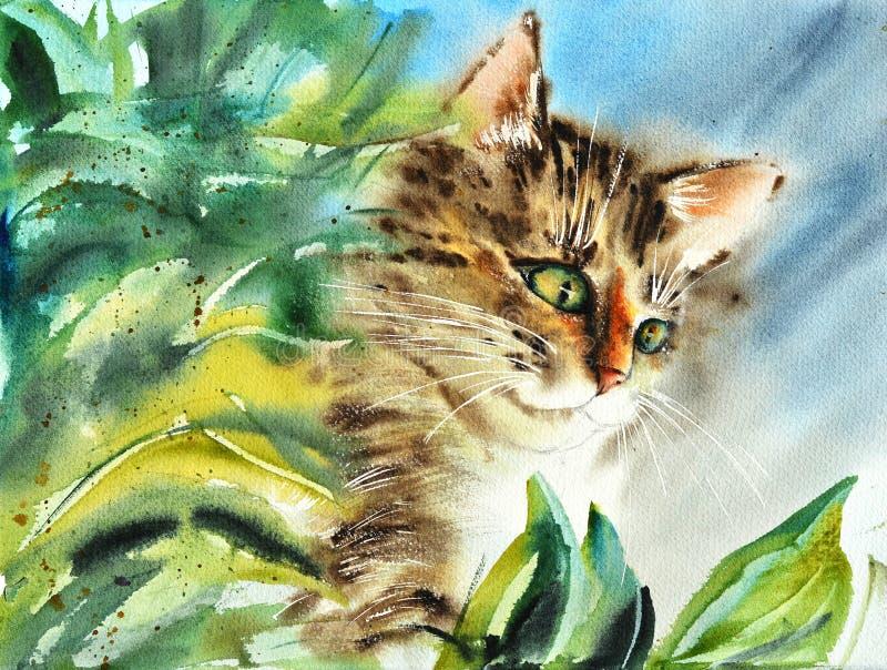 Bella illustrazione di un gatto multicolore a strisce lanuginoso con i baffi bianchi gialli e dell'occhio watercolor illustrazione vettoriale