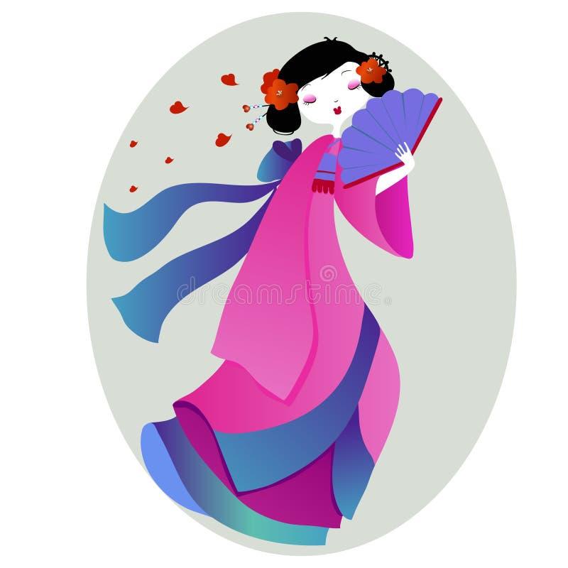 Bella illustrazione di una geisha in kimono rosa illustrazione vettoriale