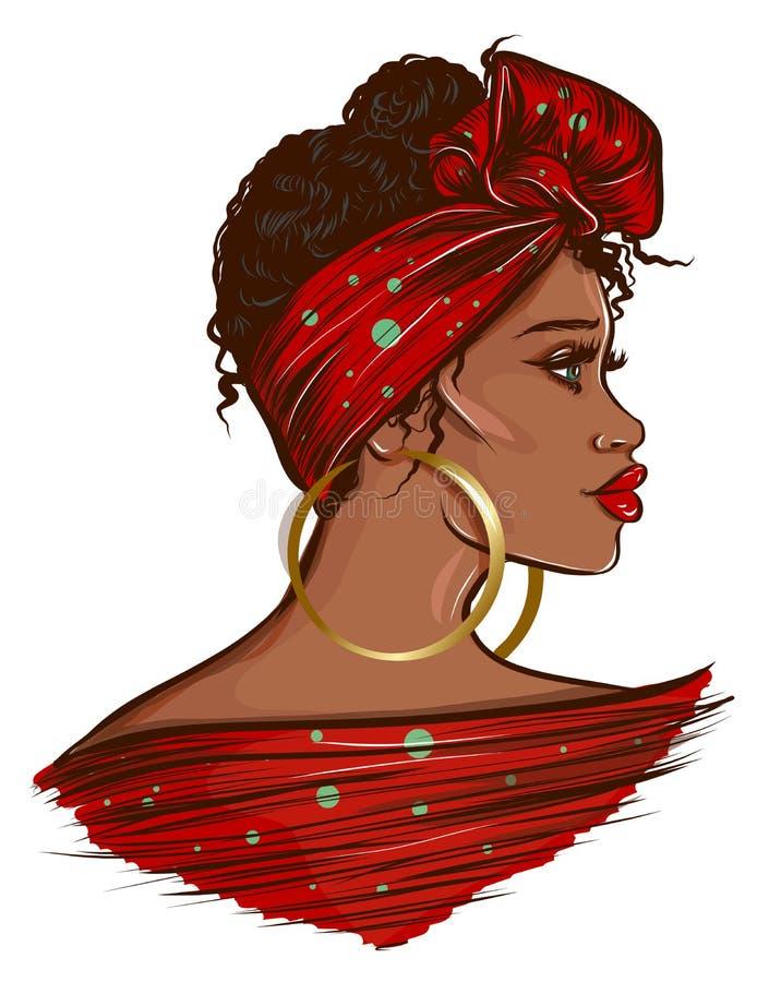 Bella illustrazione nera della donna di afro illustrazione di stock