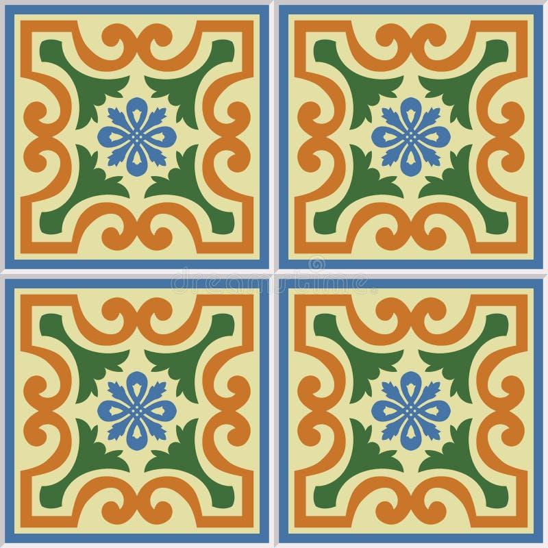 Bella illustrazione ornamentale senza cuciture di vettore del fondo delle mattonelle illustrazione vettoriale