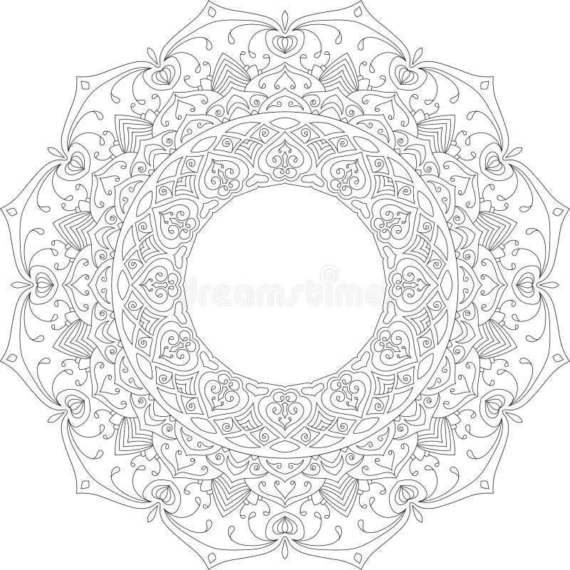 Bella illustrazione pacifica di vettore della mandala immagine stock