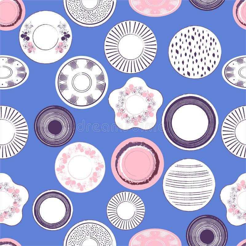 Bella illustrazione pastello sveglia di vettore del modello disegnato a mano dei piatti di porcellana sul modello senza cuciture  illustrazione vettoriale