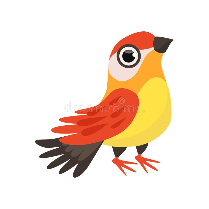Bella illustrazione variopinta di vettore dell'uccello del fringillide su un fondo bianco illustrazione vettoriale