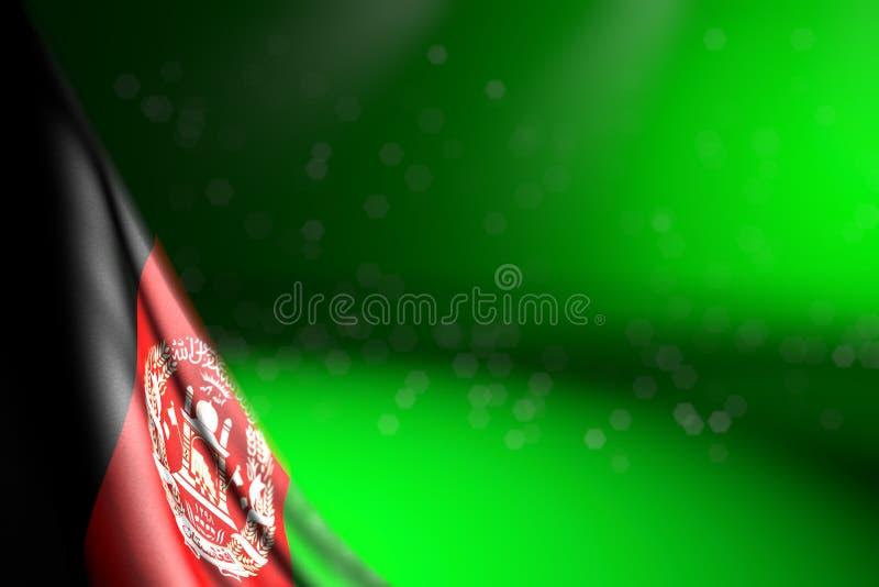Bella immagine della bandiera di Afghanistan che appende nell'angolo su verde con il fuoco selettivo e del posto libero per il vo illustrazione di stock