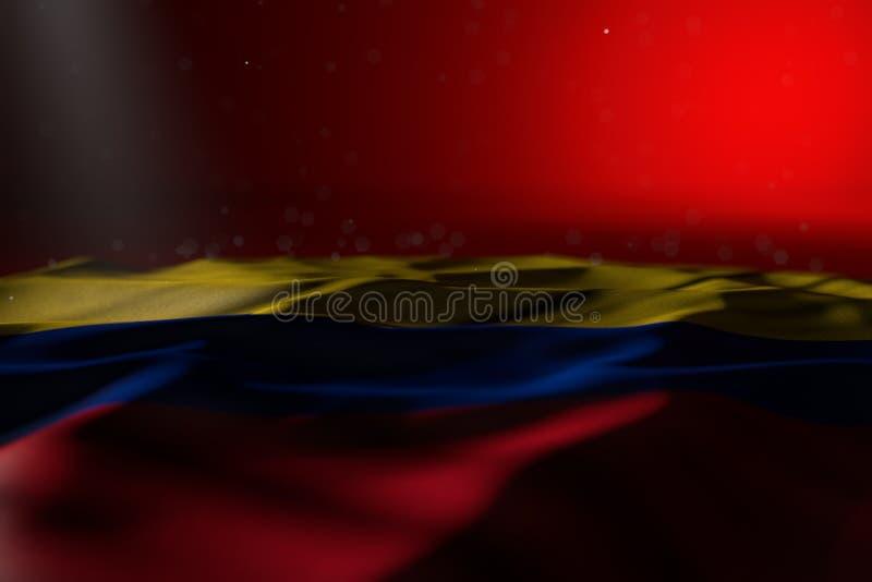 Bella immagine scura della bandiera della Colombia che si trova sul fondo rosso con bokeh e del posto libero per testo - qualsias illustrazione vettoriale