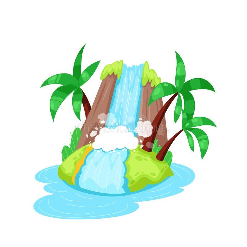 Bella isola tropicale in oceano con la palma e la grande cascata royalty illustrazione gratis