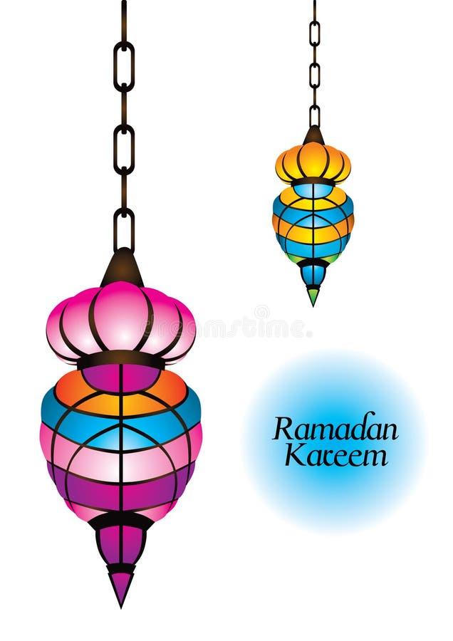 Bella lampada araba con kareem ramadan illustrazione di stock