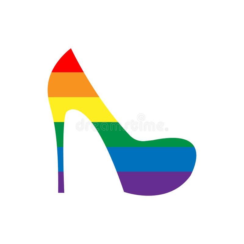 Bella linea collezione di arte con il lgbt variopinto di colore della scarpa delle donne su fondo bianco Segno di libert? Struttu illustrazione vettoriale
