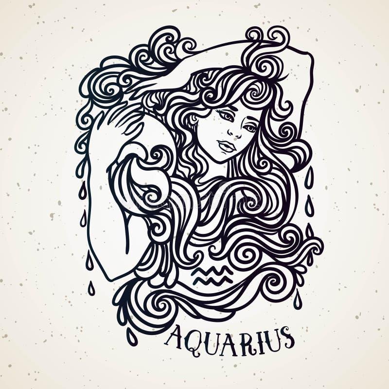 Bella linea simbolo a filigrana dello zodiaco di arte Segno nero su fondo d'annata Tatuaggio elegante dei gioielli Simbolo inciso royalty illustrazione gratis
