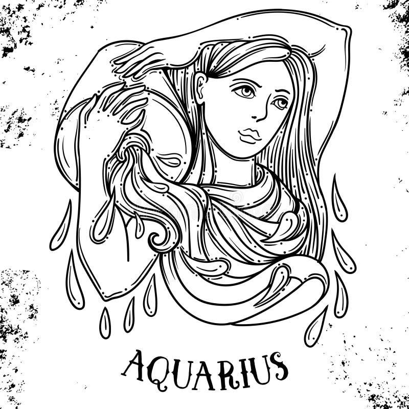 Bella linea simbolo a filigrana dello zodiaco di arte Segno nero su fondo d'annata Tatuaggio elegante dei gioielli Oroscopo incis illustrazione vettoriale