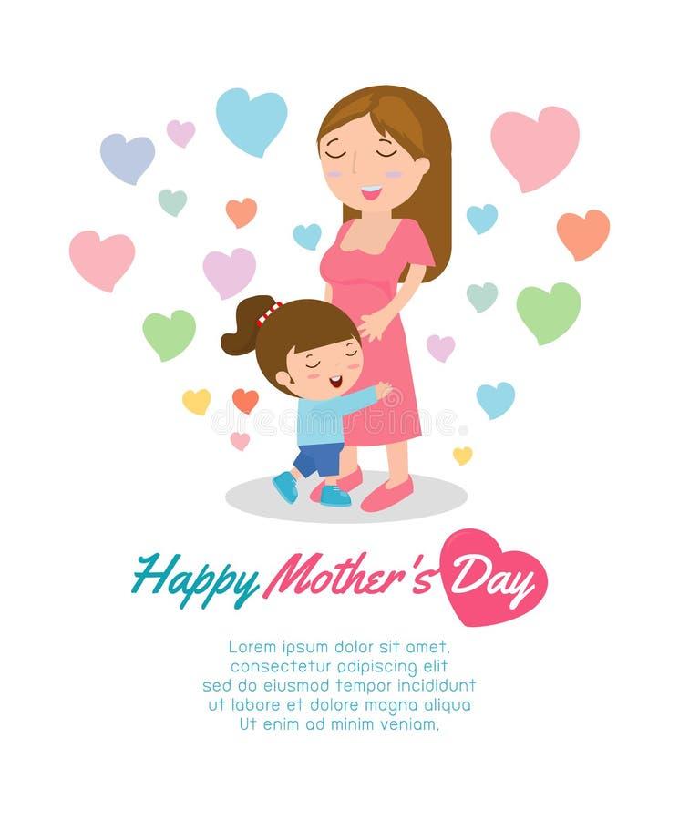 Bella madre con la sua figlia Carta di buona Festa della Mamma Vector l'illustrazione con le bei donne e bambino, le madri felici illustrazione vettoriale