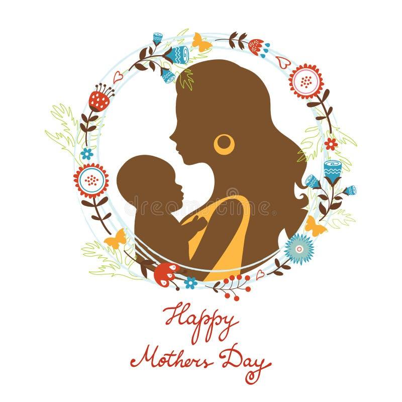 Bella madre con le sue siluette del bambino con royalty illustrazione gratis