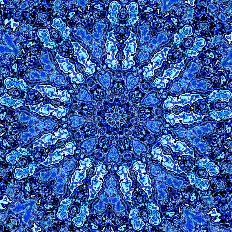 Bella Mandala Fractal blu dettagliata Reticolo astratto della priorità bassa Materiale illustrativo moderno decorativo Immagine d royalty illustrazione gratis