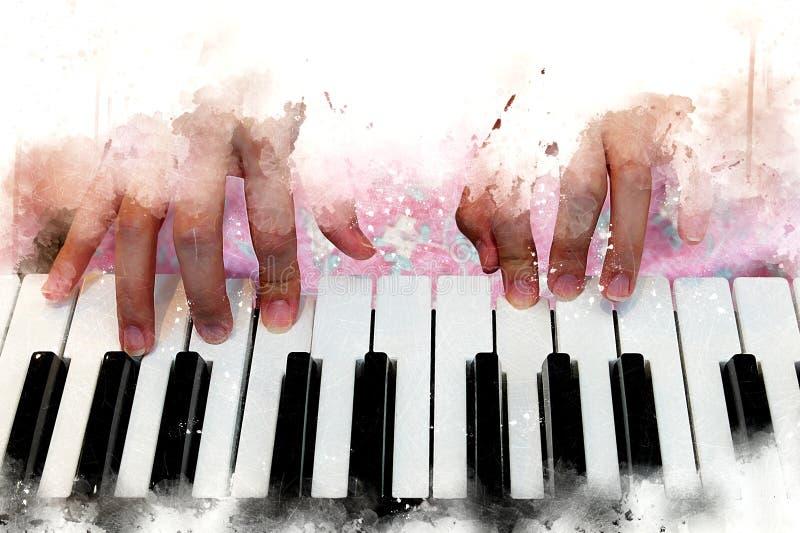 Bella mano astratta che gioca tastiera del piano fotografia stock