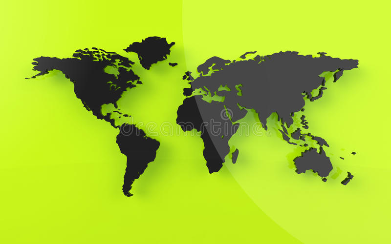 Bella mappa di mondo nello sguardo reso illustrazione vettoriale
