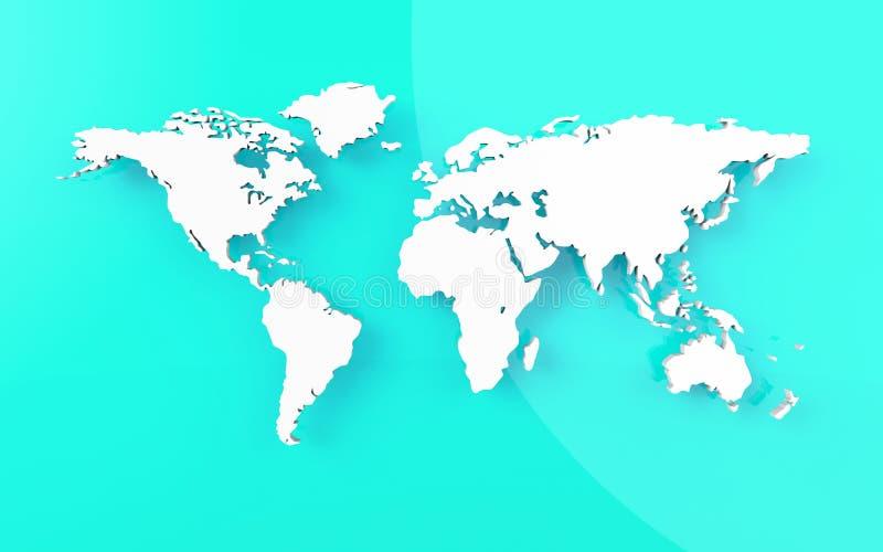 Bella mappa di mondo su fondo blu illustrazione vettoriale