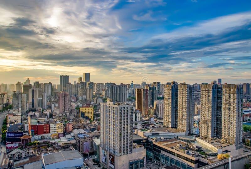 Bella mattina nella città di Chang-Sha La Cina 2017 fotografia stock libera da diritti