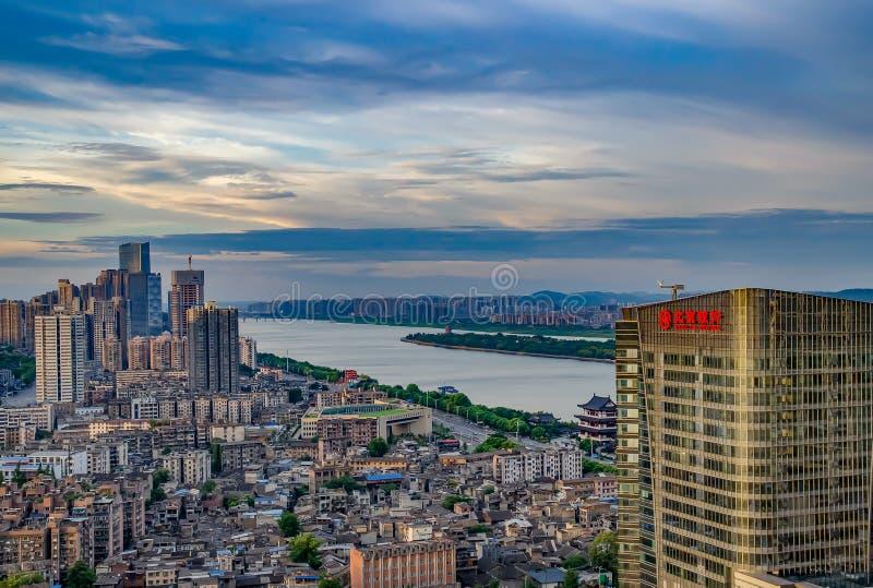 Bella mattina nella città di Chang-Sha La Cina 2017 immagini stock libere da diritti