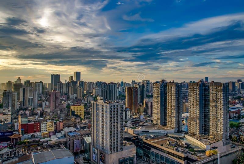 Bella mattina nella città di Chang-Sha La Cina 2017 immagine stock libera da diritti