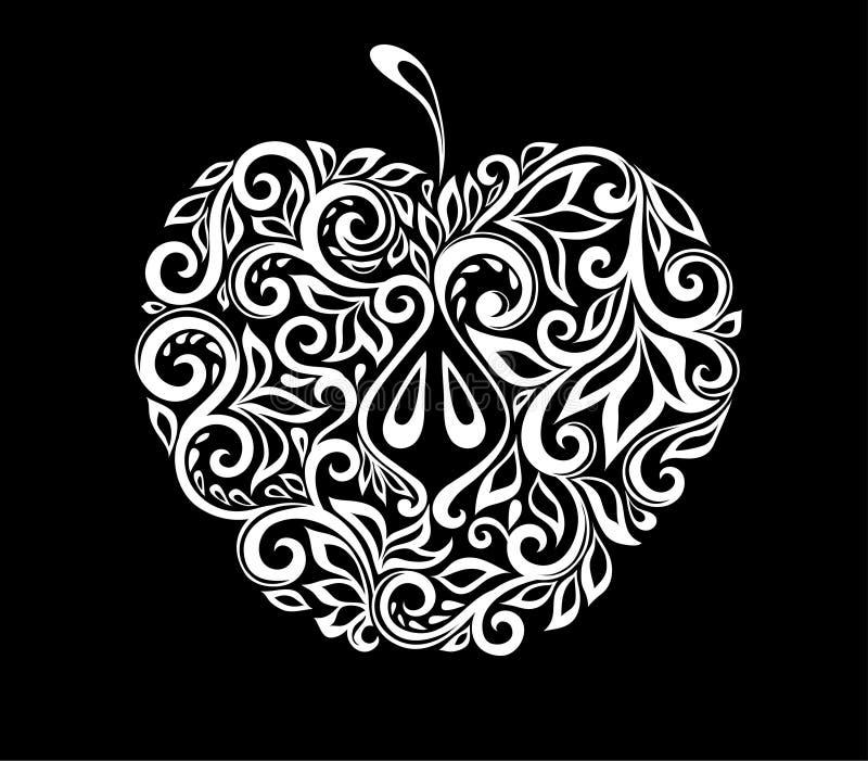 Bella mela in bianco e nero monocromatica decorata con il modello floreale isolato illustrazione vettoriale