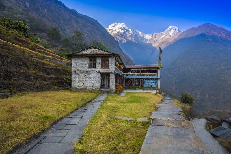 Bella montagna di Annapurna del fondo e della Camera immagine stock