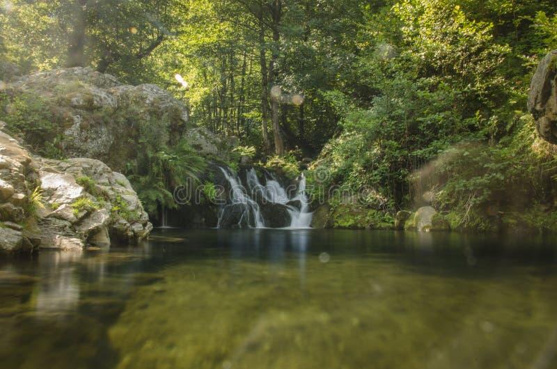 Bella natura - fiume nel villaggio di Dihovo, Bitola, Macedonia fotografia stock libera da diritti