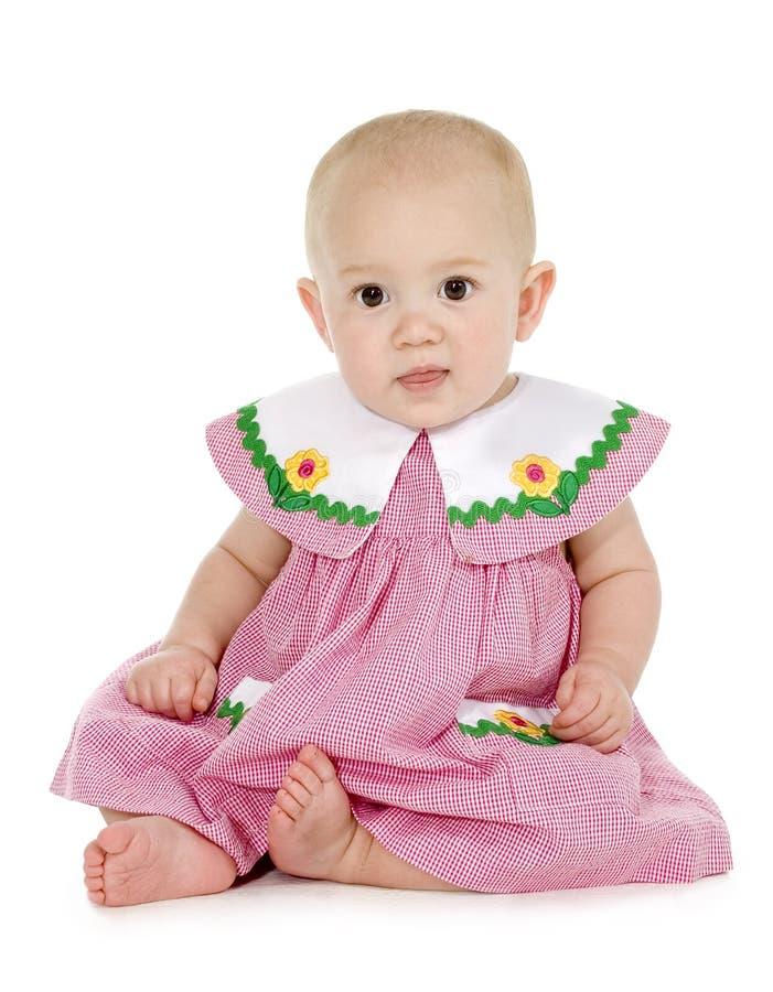 Bella neonata in vestito rosso e bianco immagine stock libera da diritti