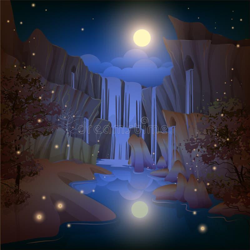 Bella notte delle cascate illustrazione vettoriale