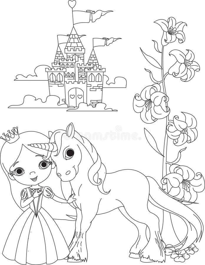 Bella pagina di coloritura dell'unicorno e della principessa illustrazione di stock