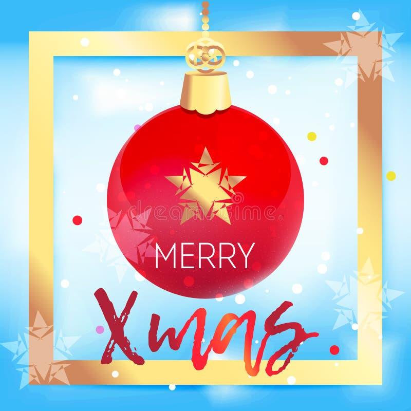 Bella palla rossa dell'albero di Natale nel telaio dorato illustrazione di stock