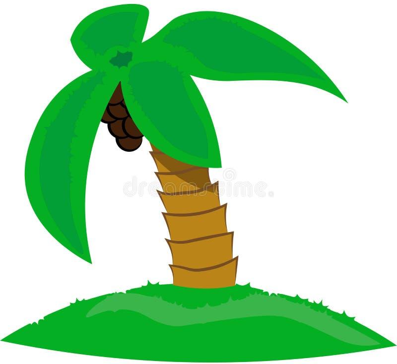Bella palma isolata con le noci di cocco su fondo bianco royalty illustrazione gratis