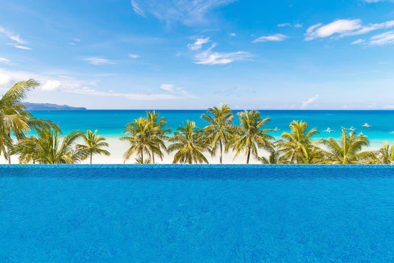 Bella palma sopra la spiaggia tropicale sabbiosa bianca Mare e Bor fotografie stock libere da diritti
