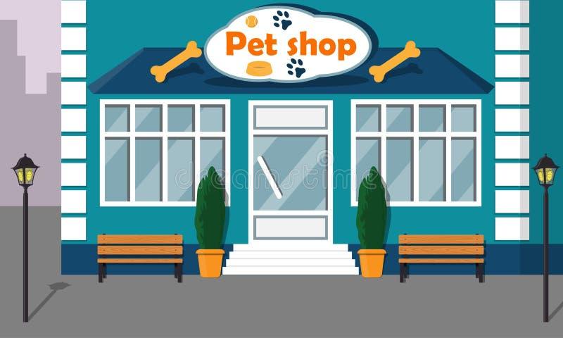 Bella parte anteriore moderna del deposito del negozio di animali con le grandi finestre e segno sulla facciata Illustrazione del royalty illustrazione gratis