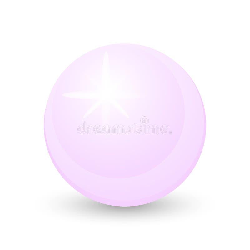 Bella perla rosa-chiaro su un fondo bianco illustrazione vettoriale