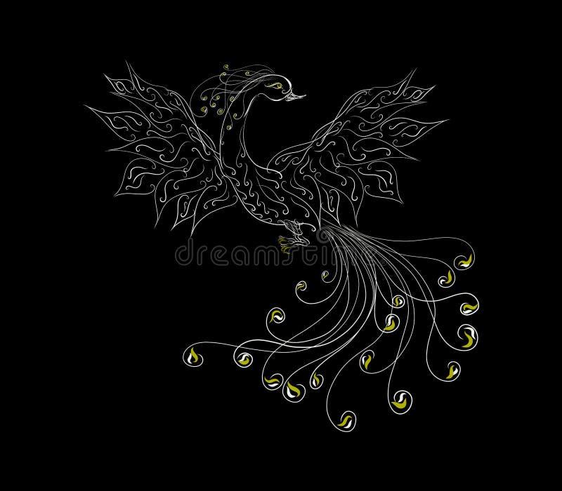 Bella Phoenix del modello squisito su un fondo nero royalty illustrazione gratis