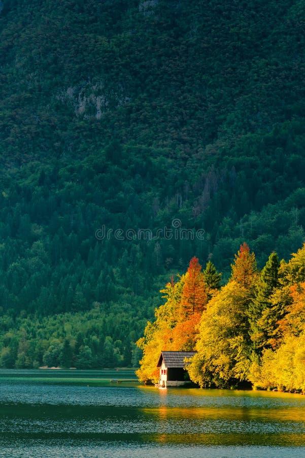 Bella piccola casa del cottage nel lago Bohinj in Slovenia fotografia stock libera da diritti