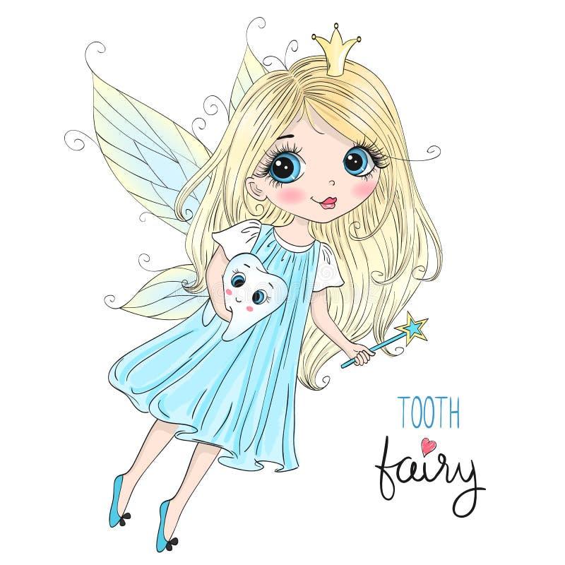 Bella piccola ragazza sveglia disegnata a mano del fatato di dente con un dente royalty illustrazione gratis