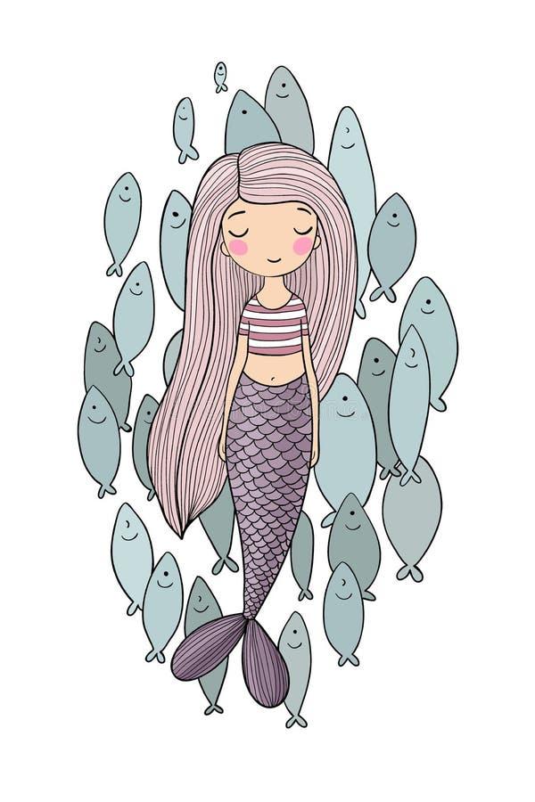 Bella piccola sirena e una moltitudine di pesce Sirena Tema del mare royalty illustrazione gratis